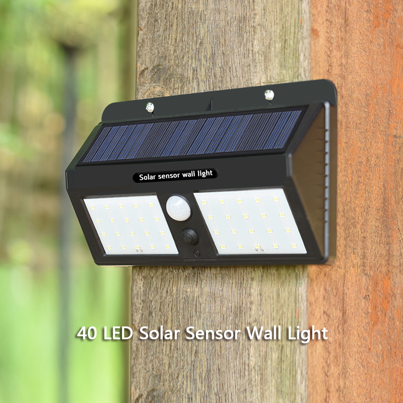 Solar Led Wall Light 40 leds IP65 Solar PIR Sensor Wall Light for Outdoor
